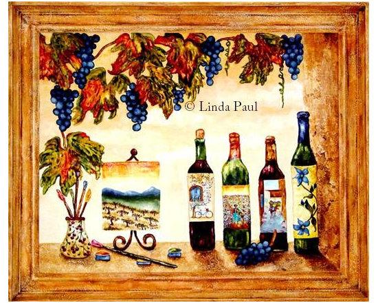 Wine & Art original wine painting by artist Linda Paul - Artist Linda Paul  - Wine & Art  - Original bas -relief & egg tempera wine paintings by Linda Paul