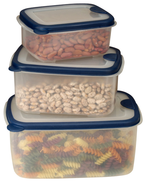 6-piece Plastic Container Set with Rectangular Lids contemporary-food-containers-and-storage