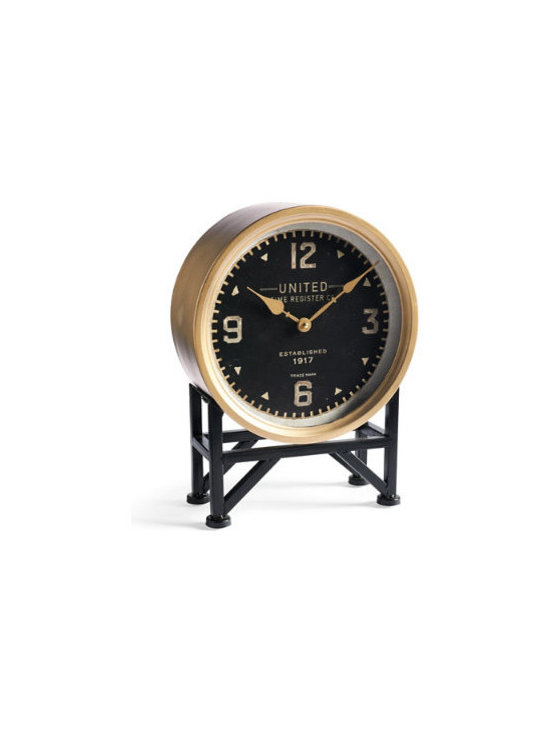 Grandin Road - Richmond Clock - Elegant, designer mantel clock with antique-inspired details. Metal frame and iron base. Hand-applied antique brass finish on clock hands, numerals and frame; aged black finish on dial and base. Dial protected by glass. Quartz movement; requires one AA battery (not included). Display yours on a mantel, bookshelf or hallway table –the vintage details and distinctive style make the Richmond clock a timely, versatile addition to any room. At 12 inches wide, the antiqued brass-finished hands and Arabic numerals stand out on the aged black dial, just as the antiqued brass-finished clock frame contrasts beautifully with the black trestle-style base. Whether you place yours above the fireplace or on a shelf in the office, the artful details abound, making Richmond a wonderful way to note the passage of time.  .  .  .  .  . Clean with a soft, dry cloth; avoid using polishes or abrasives, as they may damage the finish . All quartz movements are tested before shipping –sometimes hands fall out of alignment during shipping and may require an adjustment so that the hands do not touch .