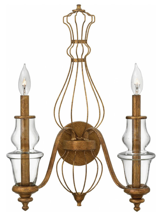 Hinkley Lighting - Celine Wall Sconce - The Celine Wall Sconce is available with a Gold Leaf finish. Two 60 watt 120 volt B10 type candelabra base bulbs are required, but not included. 16 inch width x 21.5 inch height x 8 inch depth.