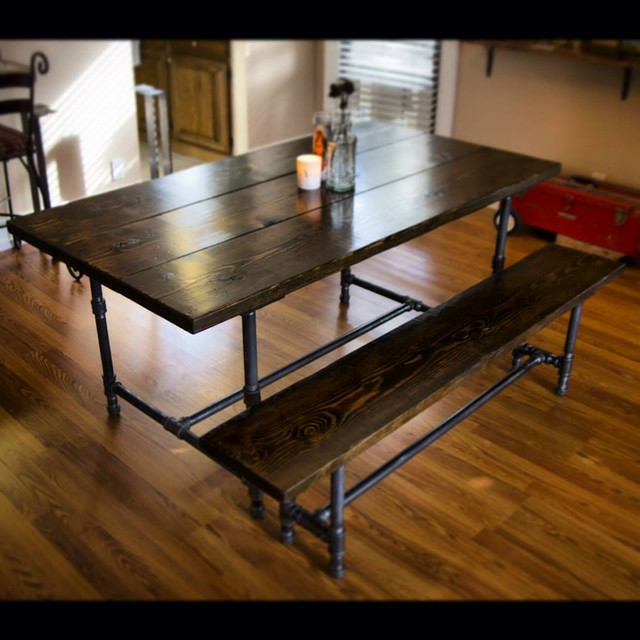 6ft Iron and Wood Dining Table with Matching Bench  : rustic dining tables from www.houzz.com size 640 x 640 jpeg 79kB