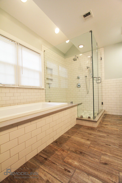Ceramic wood plank tile transitional bathroom for Wood and tile bathroom