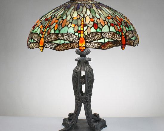The Secret Garden (TSG 1895 USA) - 22-inch Dancing Red Dragonflies (Green) Gemstone Tiffany-Style Table Lamp. - Gemstone Tiffany-Style Lampshade