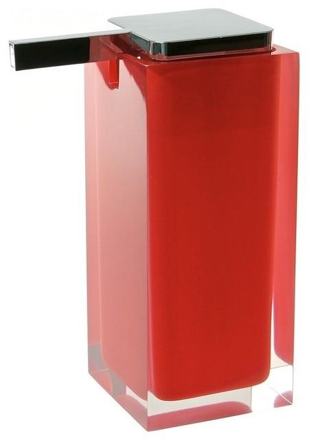 Square Soap Dispenser, Red contemporary-bath-and-spa-accessories