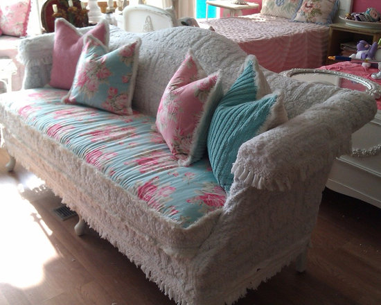 vintage chic furniture schenectady ny - vintage camelback sofa with vintage chenille bedspread slipcover and pretty rose fabrics in pinks and aquas