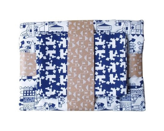 Dutch Table Cloth & Napkins - Navy -