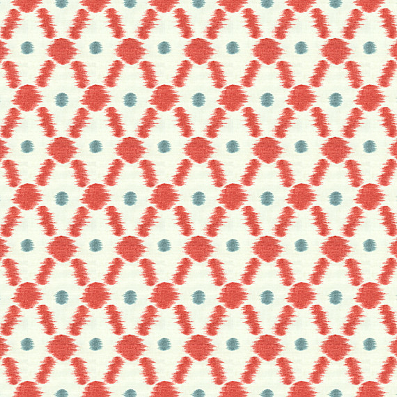 Red Diamond Dot Ikat Cotton Fabric contemporary-upholstery-fabric