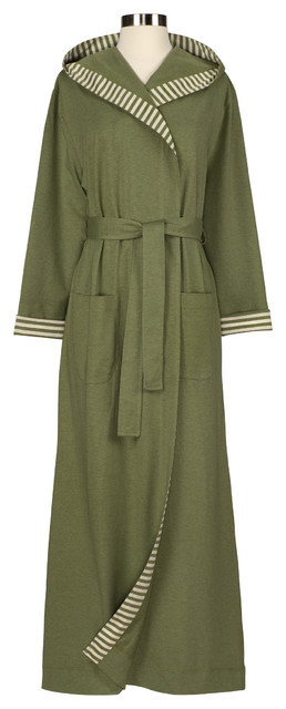 Striped Trim Jersey Knit Robe, Small, Sage contemporary-bathrobes