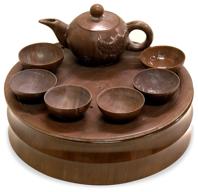 Hand Carved Brown Jade Tea Set