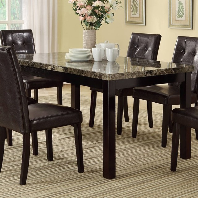 Casual Contemporary Dark Wood Dining Table Chairs Dining: 7 Piece Casual Dark Brown Dining Set