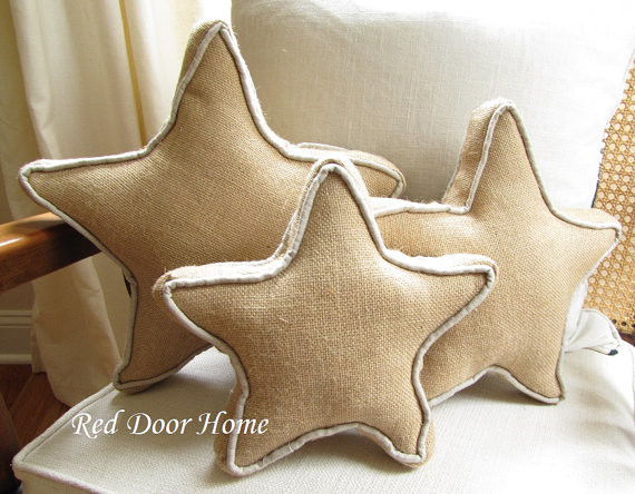 Burlap Christmas Star Pillows Decorations Red Door Home