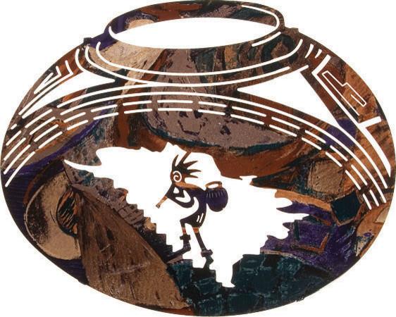 Southwest Metal Wall Art Kokopelli Pottery Jar Rustic