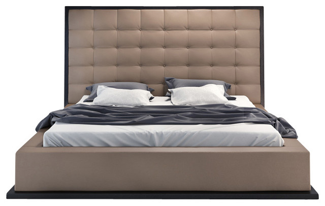 Ludlow Bed, Wenge / Taupe Leather, Queen modern-beds