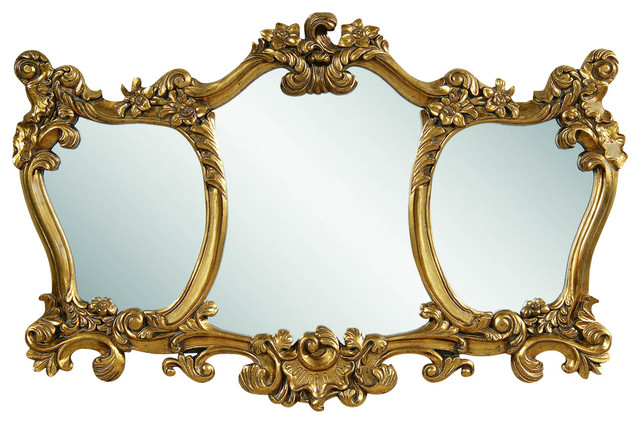 Donatella Antique Gold Leaf Wall Mirror traditional-mirrors
