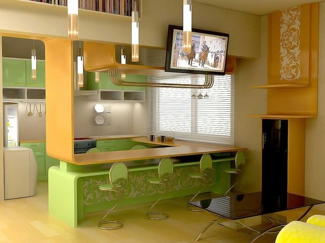 Few ideas of using Aluminum Frame Cabinet Doors will  make your kitchen look stu contemporary-rendering