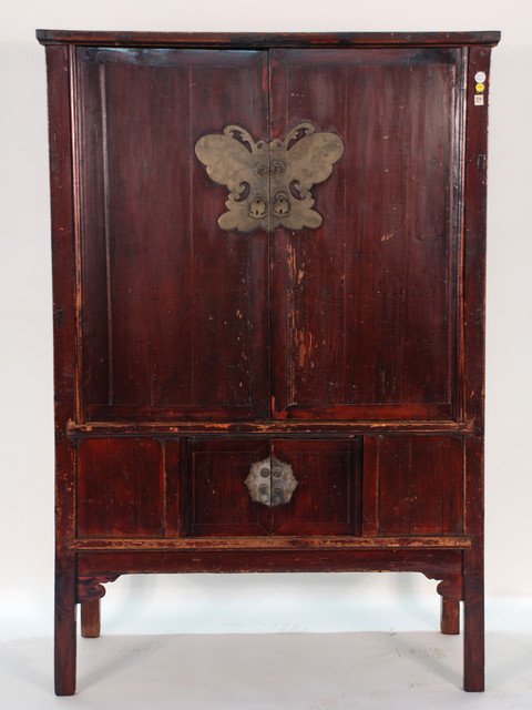 Antique Chinese 4-Door Cabinet with Butterfly Plate asian-dressers-chests-and-bedroom-armoires
