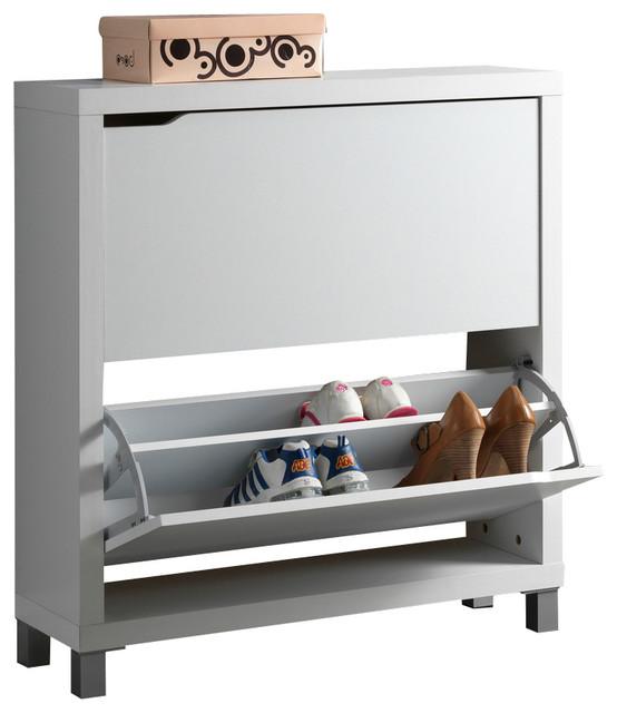Baxton Studio Simms White Modern Shoe Cabinet Modern