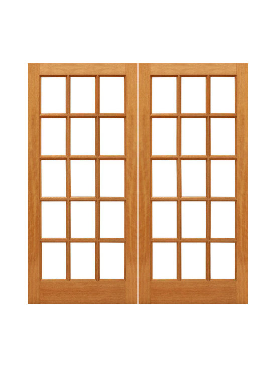 "15-lite French Brazilian Mahogany Wood IG Glass Double Door - SKU#    15-lite-Ext-2Brand    AAWDoor Type    FrenchManufacturer Collection    Mahogany French DoorsDoor Model    Door Material    WoodWoodgrain    MahoganyVeneer    Price    800Door Size Options    2(30"") x 80"" (5'-0"" x 6'-8"")  $02(32"") x 80"" (5'-4"" x 6'-8"")  $02(36"") x 80"" (6'-0"" x 6'-8"")  $0Core Type    SolidDoor Style    Door Lite Style    Full Lite , 15 LiteDoor Panel Style    Ovolo StickingHome Style Matching    Craftsman , Colonial , Cape Cod , VictorianDoor Construction    Engineered Stiles and RailsPrehanging Options    Prehung , SlabPrehung Configuration    Double DoorDoor Thickness (Inches)    1.75Glass Thickness (Inches)    1/2Glass Type    Double GlazedGlass Caming    Glass Features    Insulated , Tempered , low-E , Beveled , DualGlass Style    Clear , White LaminatedGlass Texture    Clear , White LaminatedGlass Obscurity    No Obscurity , High ObscurityDoor Features    Door Approvals    FSCDoor Finishes    Door Accessories    Weight (lbs)    680Crating Size    25"" (w)x 108"" (l)x 52"" (h)Lead Time    Slab Doors: 7 daysPrehung:14 daysPrefinished, PreHung:21 daysWarranty    1 Year Limited Manufacturer WarrantyHere you can download warranty PDF document."