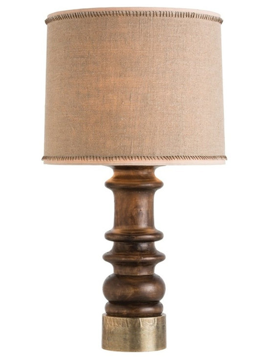 Arteriors Home - Lassie Table Lamp - Lassie Table Lamp features carved wood stained in Walnut and  topped off with an exclusive Burlap shade with a dark-brown hand-sewn whipstitch on the trim. One 150 watt, 120 volt A19 3-Way type medium base incandescent bulb is required, but not included. 18 inch width x 35 inch height.