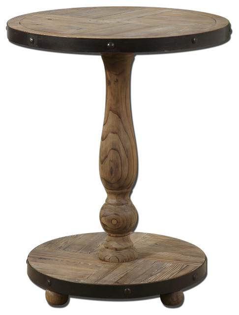 Kumberlin Weathered Wood Pedestal Table Rustic Side