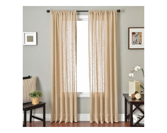 Grandin Road - Belique Solid Sheer Drapery Panel - Sheer curtain panel with an open-weave texture. Each panel is sold separately. 80% polyester for durability, 20% linen for a pleasing touch. Each panel hangs from a hemmed rod pocket top. See our selection of curtain rods (sold separately). Frame your window with the open-weave, rod pocket style of the Belgique Solid Sheer Panel and enjoy the effect of beautifully diffused light. Sheers are an excellent way to protect rugs and furniture from exposure to strong sunlight, and still let light into the room. Select a neutral hue to fit your color scheme and enjoy its light-diffusing qualities alone or layer it with a decorative panel, for a designer look.  .  .  .  .  . Dry clean only . Imported.