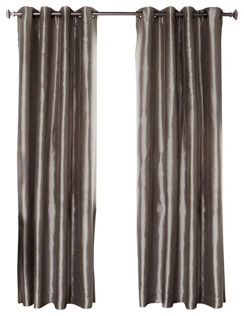 Dupioni Faux Silk Grommet Top Blackout Curtain 1 Pair Dark Grey 84 Contemporary