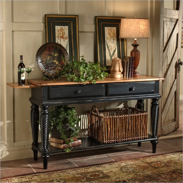 Hillsdale wilshire sideboard table traditional buffets for Black front room furniture