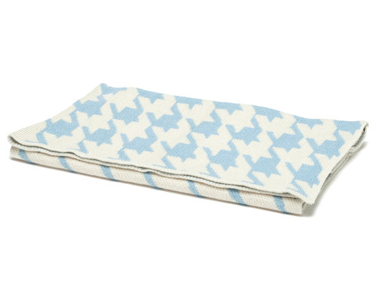 "in2green - Eco Baby Houndstooth Throw, Blue/Milk - Our throws are all knit in the USA with a blend of recycled cotton yarn (74% recycled cotton yarn, 24% acrylic, 2% other), generously sized at 50"" x 60"" and machine wash and dry...how easy is that!"