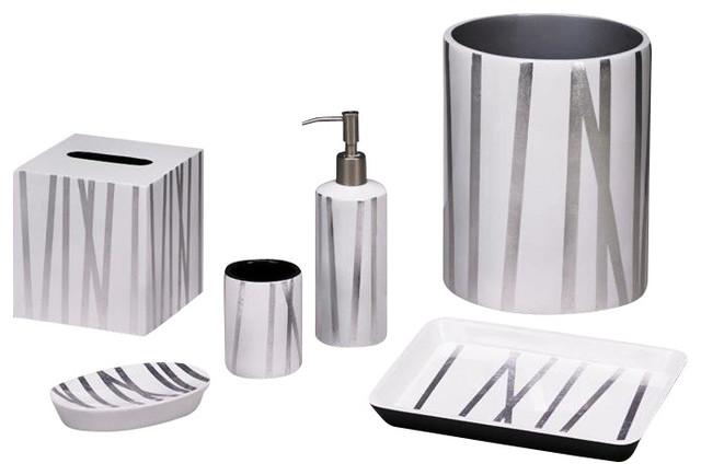 Grass Styx White/Silver Round Wastebasket contemporary-bathroom-accessories