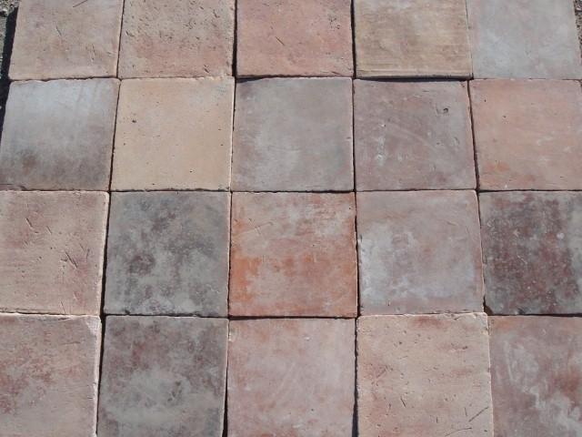 Handmade Terracotta Square Floor Tile mediterranean