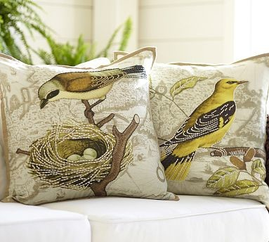 "Virginia Bird Embroidered Map Pillow Cover, 20"" sq., Yellow"