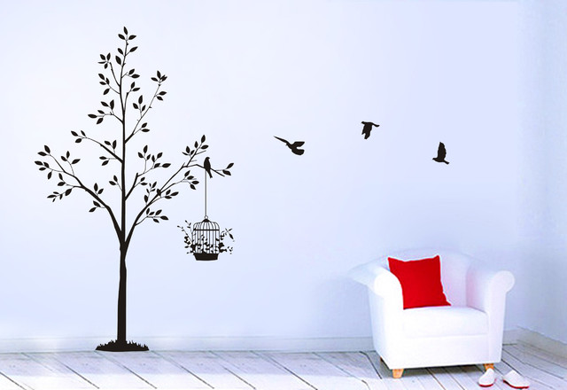 Tree Birds Birdcage Wall Decals Wall Stickers