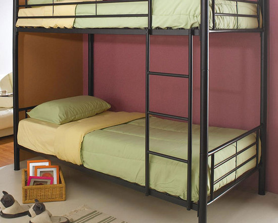 Metal Twin over Twin Bunk Bed - Make the most of your space with this lovely Metal Twin over Twin Bunk Bed in Black Finish. It features round metal tube construction, Safety rail and ladder.