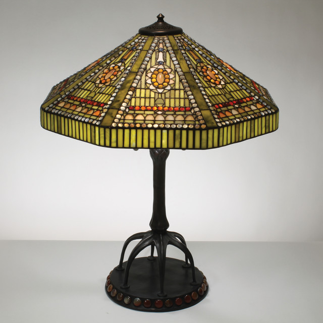 22 inch geometric deco gemstone tiffany style table lamp. Black Bedroom Furniture Sets. Home Design Ideas
