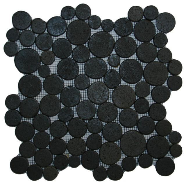 Glazed Black Moon Mosaic Tile contemporary-mosaic-tile