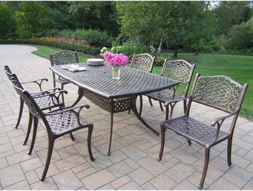 Oakland Living Oxford Mississippi Cast Aluminum Patio Dining Set Traditiona