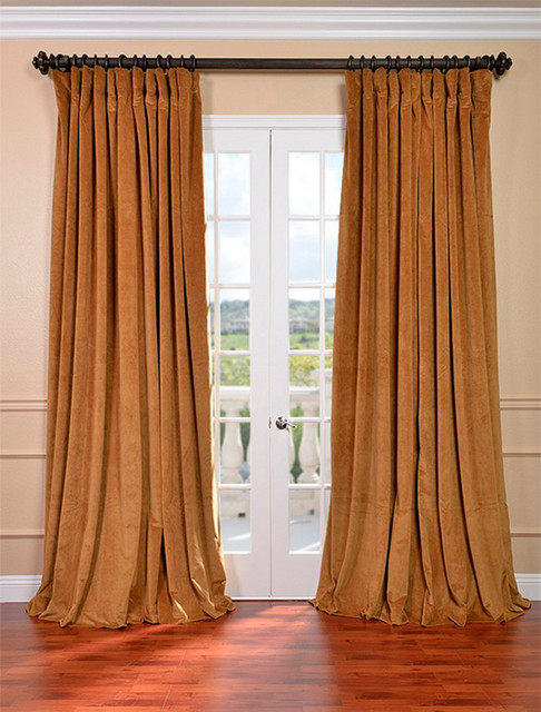 Signature Amber Gold Double Wide Velvet Blackout Pole Pocket Curtain traditional-curtains