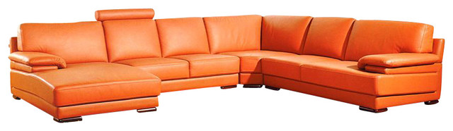 Orange Top Grain Leather Sectional Sofa - Modern - Sectional Sofas ...