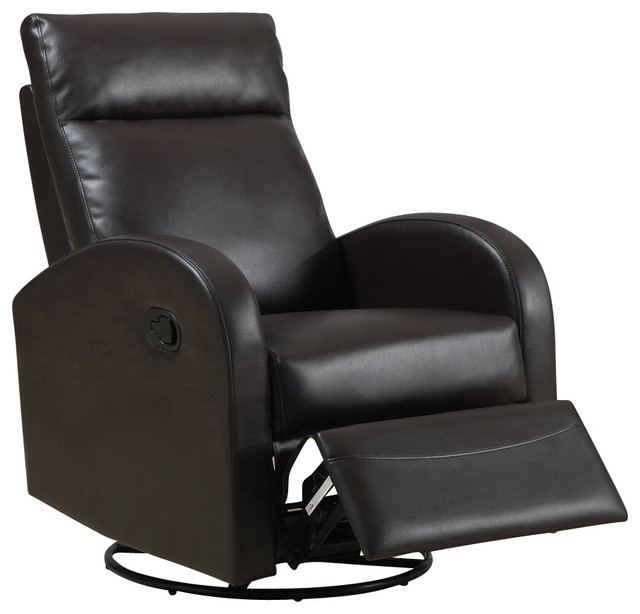 swivel rocker recliner in dark brown leather traditional recliner