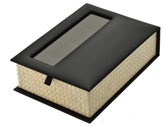 Reading- and Sunglasses Organizer Box, Pandan Leaf and Faux Leather - Modern - Storage Bins And ...