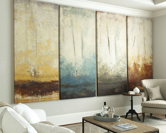 Ballard Designs - Seasons Art - Fine art giclee reproduction on canvas stretched over wood frame. Hand applied acrylic finish produces the texture of the original. These spectacular canvases by celebrated California artist, Randy Hibbard, are a breathtaking blend of dramatic scale and luminous color. Each abstract image hand embellished in thick layers of acrylic to capture the mood of a particular season: vibrant greens for Spring; lavender fields for Summer; crisp russets for Fall; and ice blues for Winter. Digitally printed on gallery-wrapped canvas with an acrylic glaze finish hand applied by palette knife to recreate the texture of the original. Seasons Art features:. .