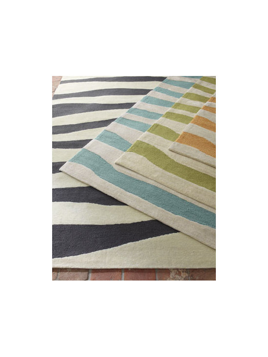 "Horchow - Calming Waves Rug, 5' x 7'6"" - A bright stripe pattern brings a splash of color and interest to any space, indoors or outdoors. Select color when ordering. Hand tufted of polypropylene/acrylic. UV stabilized. Size is approximate. Imported."