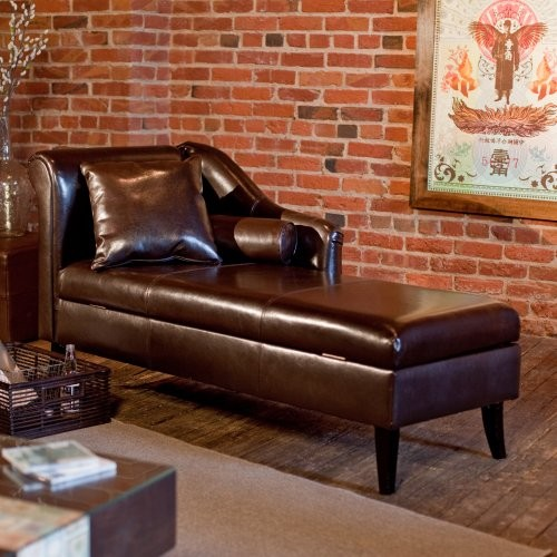 Rolland leather storage chaise lounge traditional for Chaise leather lounges