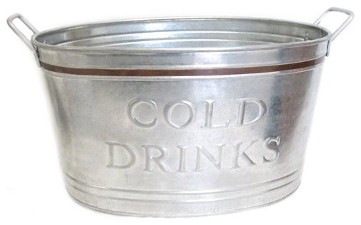 Cold Drinks Tub with Metal Border, Copper farmhouse-barware