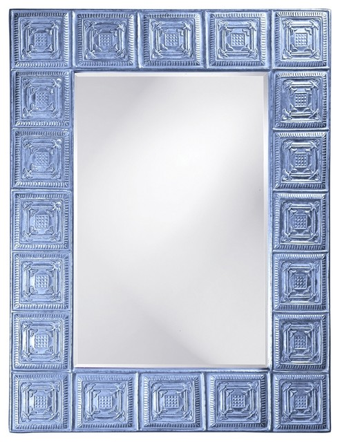 Lucille Baby Blue Mirror transitional-mirrors