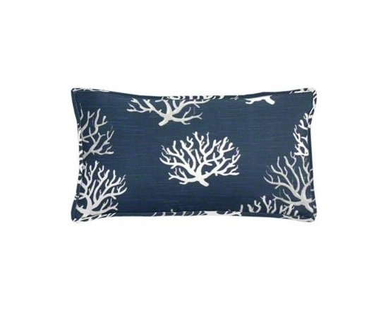 "Cushion Source - Navy Coral Lumbar Pillow - The 20"" x 12"" Navy Coral Lumbar Pillow features slubbed cotton duck fabric with a coral print in natural and gray on a navy background."