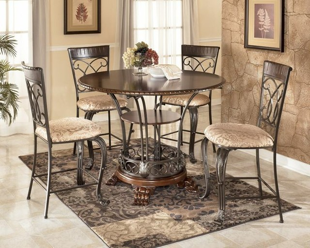 Round Counter Height Table Dining Set Ashley Traditional Dining Sets