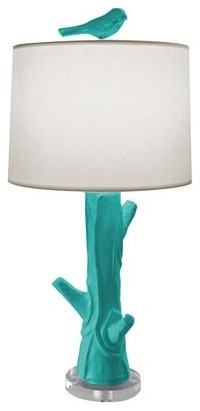 Bird Lamp, Turquoise eclectic-kids-lamps