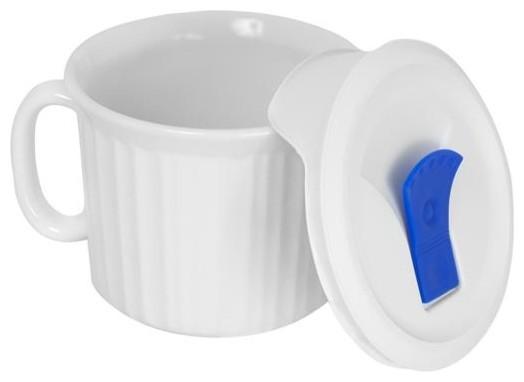 Ekco French White Pop-Ins 20-oz Mug with Cover (4 Pack) (1035985) contemporary-mugs