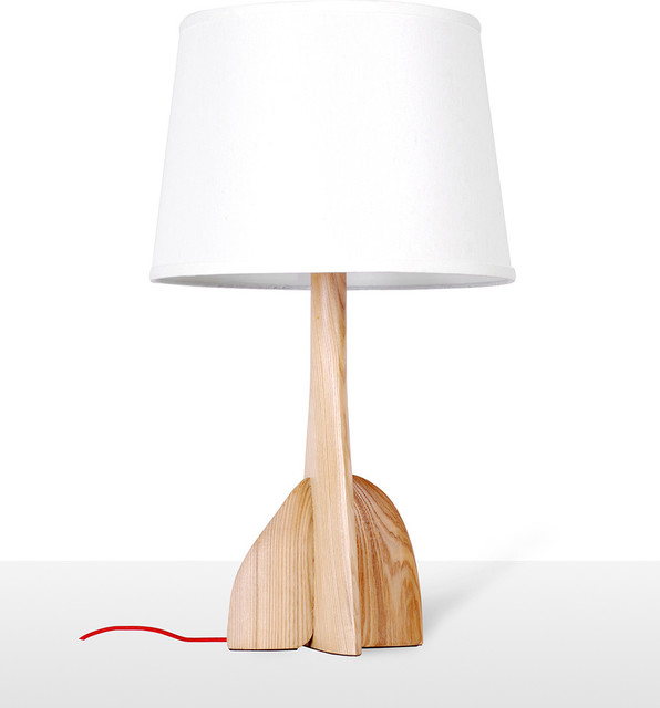 wood turbine base table lamp with bell shade modern table lamps other metro by parrotuncle. Black Bedroom Furniture Sets. Home Design Ideas